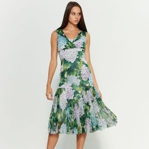 DOLCE&GABBANA  Silk Floral Midi Dress
